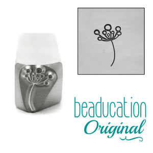 Bristly Flower Pointing Left Metal Design Stamp, 8.5mm - Beaducation Original