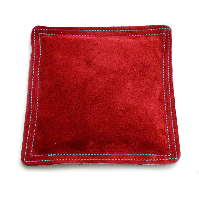 "Sandbag, Bench Block Pad -  9"" Square Red Leather/Suede"