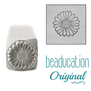 Daisy Metal Design Stamp, April Birth Month Flower, 11mm - Beaducation Original