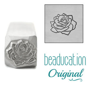 Rose Metal Design Stamp, June Birth Month Flower, 11mm - Beaducation Original