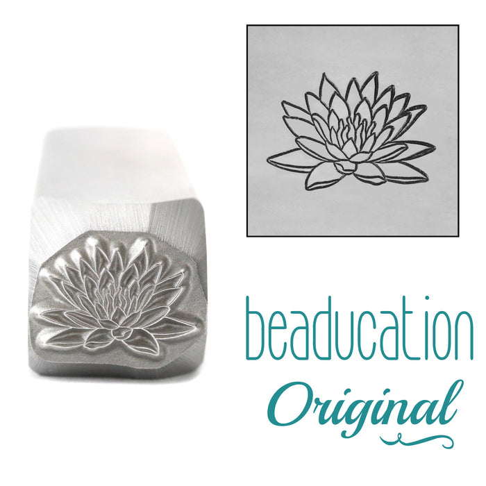 Water Lily Metal Design Stamp, July Birth Month Flower, 11mm - Beaducation Original