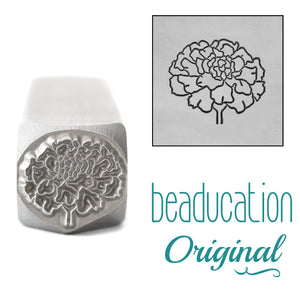 Marigold Metal Design Stamp, October Birth Month Flower, 11.2mm - Beaducation Original