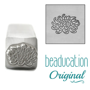 Chrysanthemum Metal Design Stamp, November Birth Month Flower, 11mm - Beaducation Original