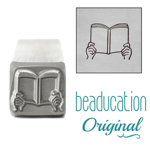 Hands Holding Book Metal Design Stamp, 11mm - Beaducation Original