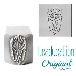 Lotus Moon Metal Design Stamp, 14.5mm - Beaducation Original