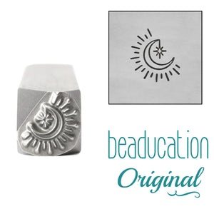 Moon with Dangling Star Metal Design Stamp, 8.3mm - Beaducation Original