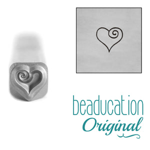 Metal Stamping Tools Heart with Spiral Metal Design Stamp, 4.5mm - Beaducation Original