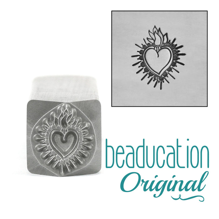 Large Sacred Heart Metal Design Stamp, 11.5mm Beaducation Original