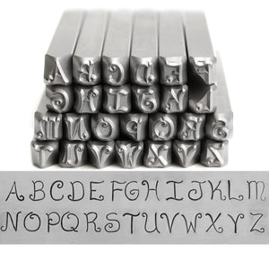 Metal Stamping Tools Beaducation Exact Series, Kismet Uppercase Letter Stamp Set 4.5mm, By Stamp Yours - Tapered Down Shanks
