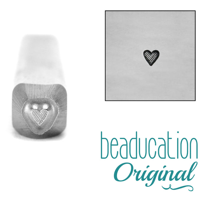 Tall Lined Heart Metal Design Stamp 2mm- Beaducation Original