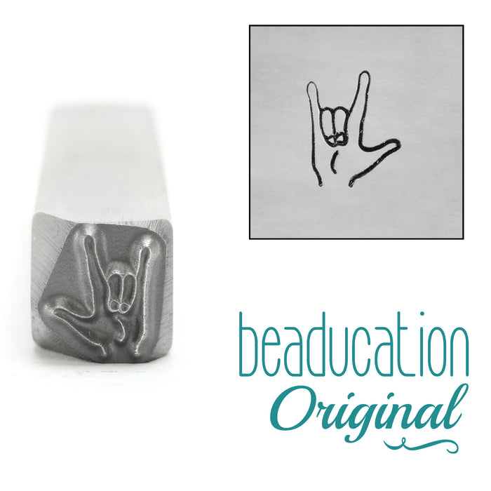"ASL ""I Love You"" Sign Metal Design Stamp, 8mm - Beaducation Original"