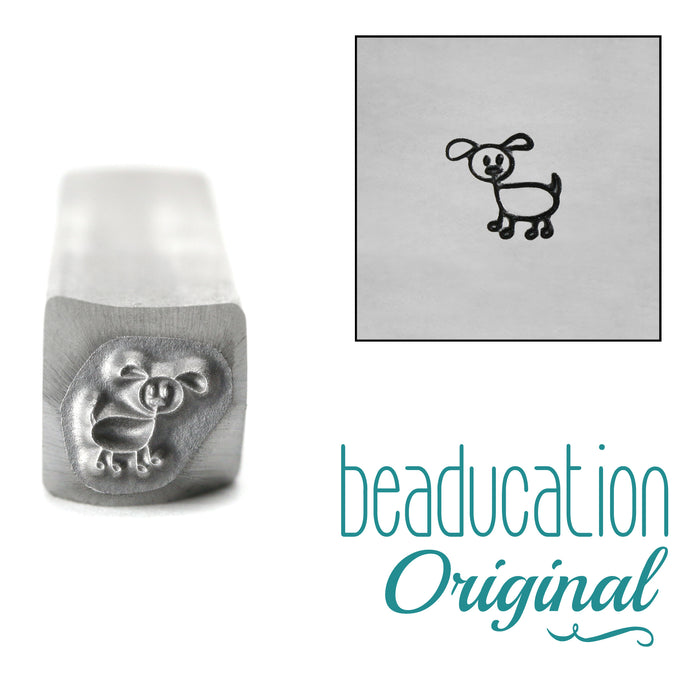 Dog Stick Figure Metal Design Stamp, 6mm - Beaducation Original