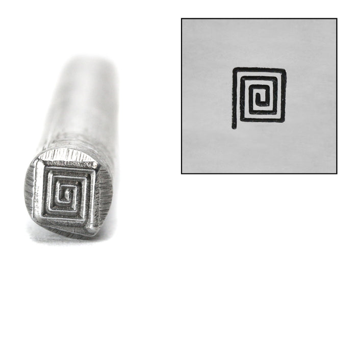 Square Spiral Metal Design Stamp, 5mm