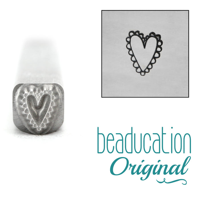 Lacey Heart Metal Design Stamp-Beaducation Original
