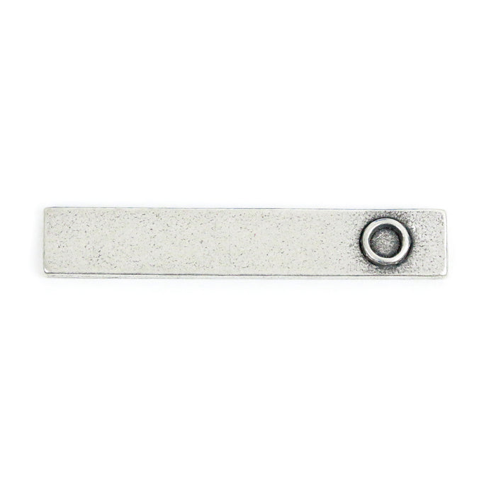 "Pewter Rectangle Pendant with Birthstone Bezel, 35.2mm (1.39"") x 6.4mm (.25""), 16g"