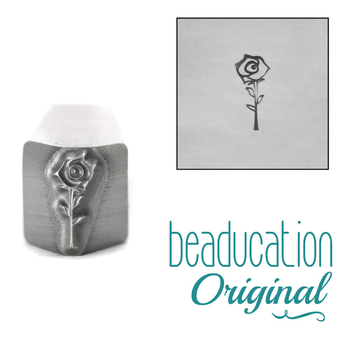Open Rose Flower Metal Design Stamp, 8.5mm - Beaducation Original