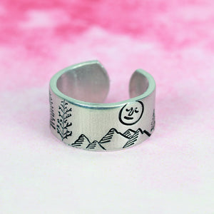 Full Moon with Face Metal Design Stamp, 5mm - Beaducation Original