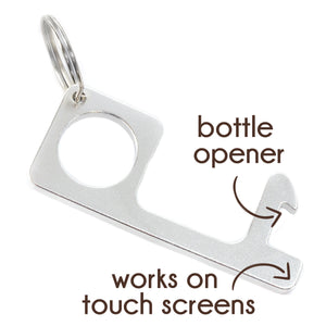 No Touch Door Opener, Bottle Opener End, Stampable, Aluminum, Silver