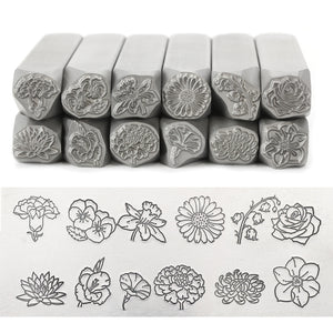 Carnation Metal Design Stamp, January Birth Month Flower, 10.5mm - Beaducation Original