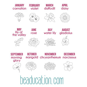 Metal Design Stamps - Birth Month Flowers