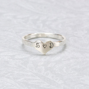 Sterling Silver Heart Ring Stamping Blank, SIZE 7