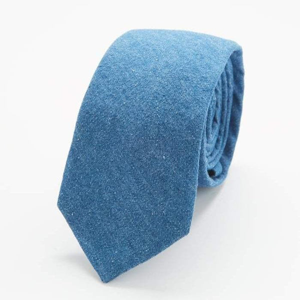 Light Blue Chambray Skinny Tie