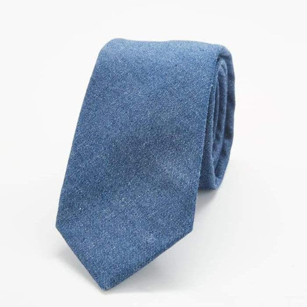 Dark Blue Chambray Skinny Tie