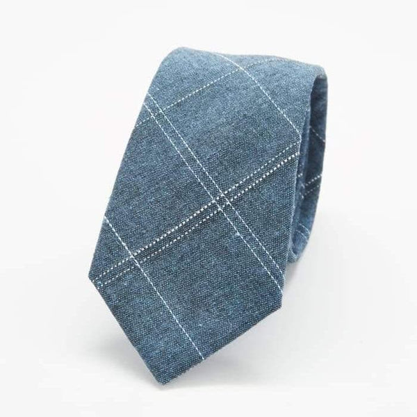 Blue Chambray Patterned Skinny Tie