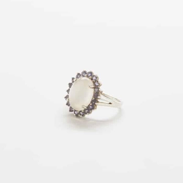 Vintage Moonstone and Amethyst Ring
