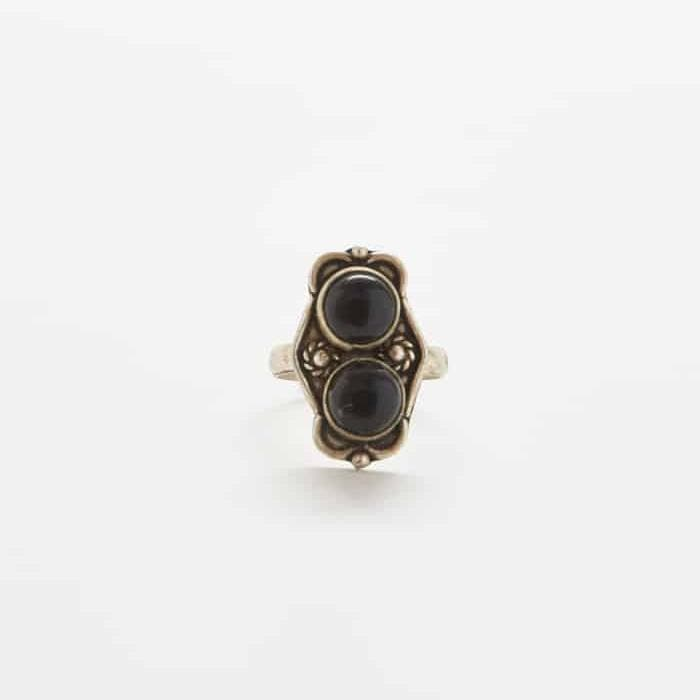 Vintage Two Stone Onyx Ring