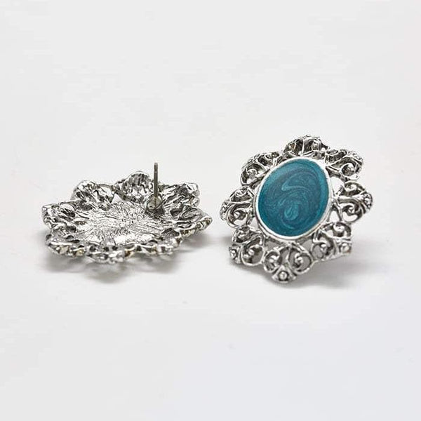 Vintage Silver Blue Filigree Stud Earrings