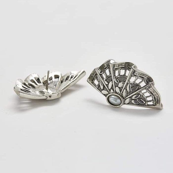 Vintage Silver Fan Earrings