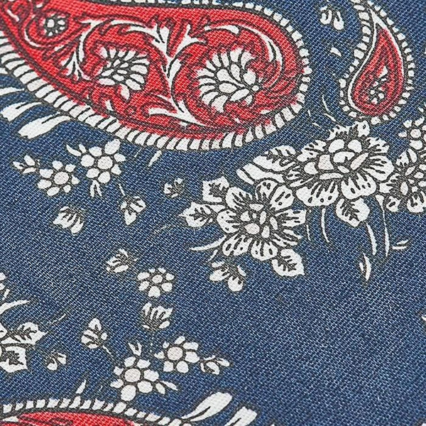 Navy and Red Paisley Skinny Tie