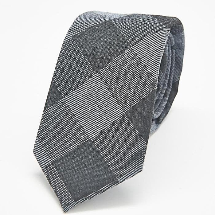 Black and Grey Plaid Skinny Tie