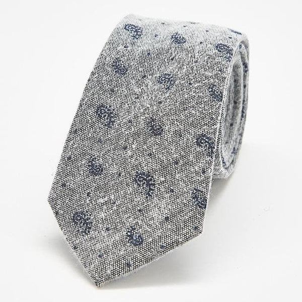 Grey and Navy Paisley Skinny Tie