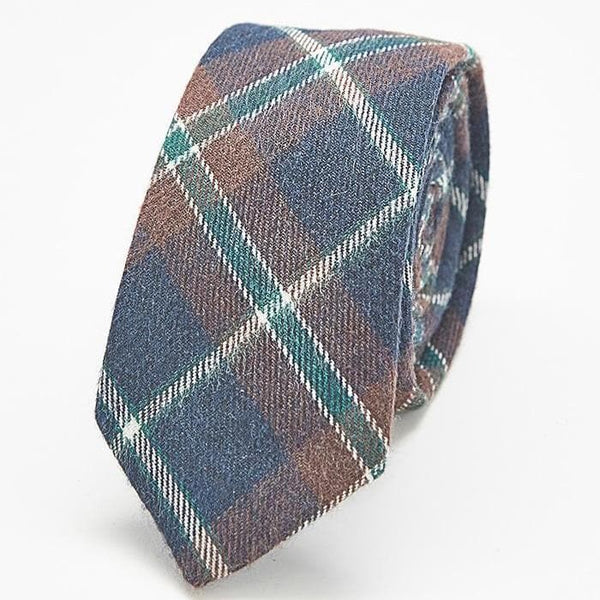 Navy and Brown Plaid Skinny Tie