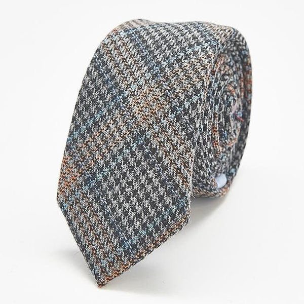Tan and Grey Plaid Skinny Tie