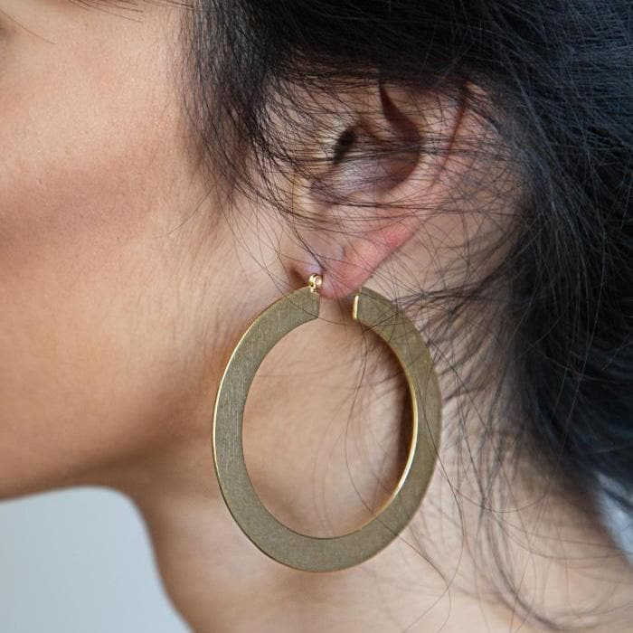 Gold Matte Large Hoop Earrings