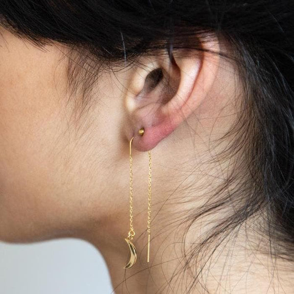 Gold Moon Threader Earrings