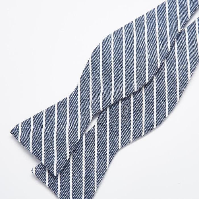 Charcoal Grey Stripe Bow Tie