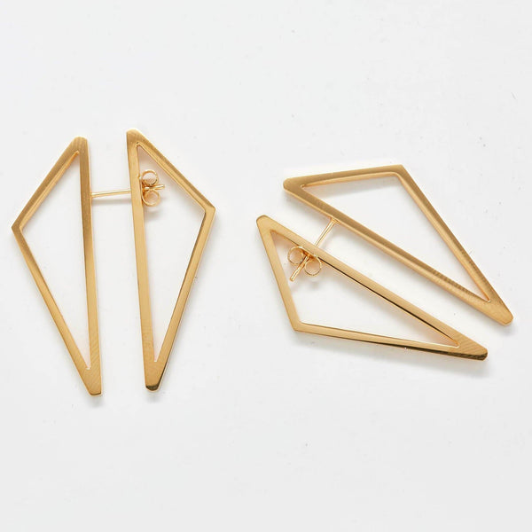 Double-Sided Gold Geometric Triangle Earrings