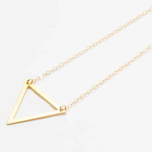 Gold Triangle Outline Pendant Necklace