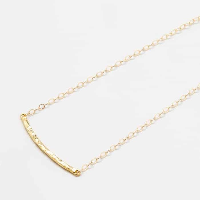 Gold Hammered Curved Bar Necklace