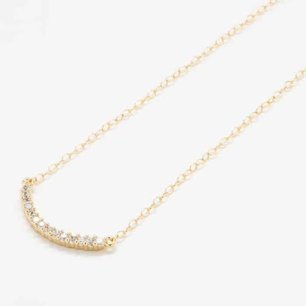 Gold Pave Curved Bar Necklace