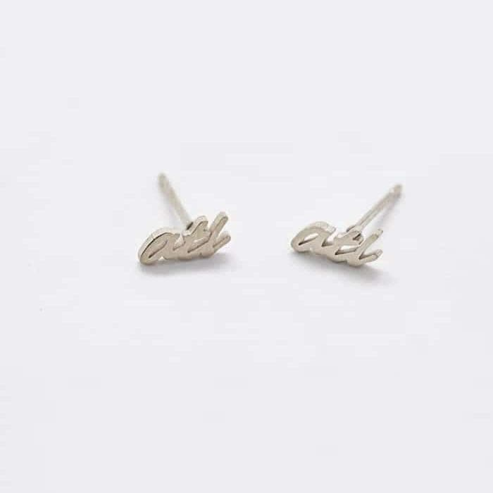 """ATL"" Silver Dainty Stud Earrings"