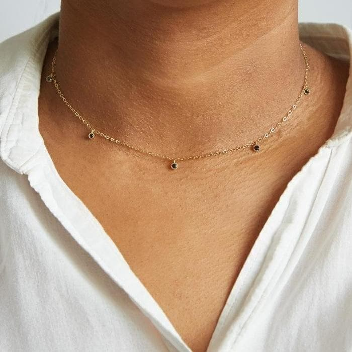 Black CZ Choker Necklace