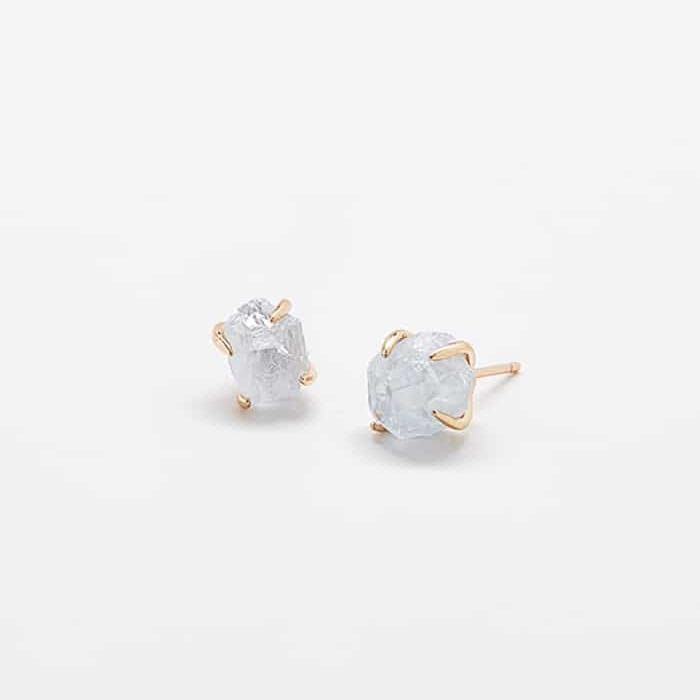 Aquamarine Gold Claw Studs