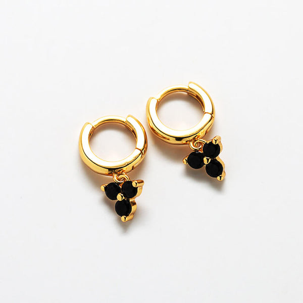 Black Pave Geometric Huggie Earrings