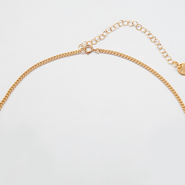 Gold Pave Dog Tag Choker Necklace