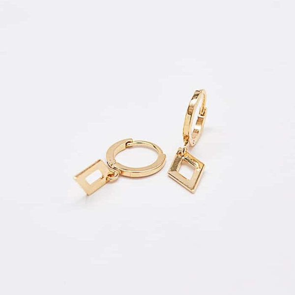 Geometric Diamond Huggie Earrings
